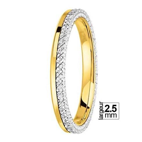 Alliance de mariage Or jaune 750 et Platine - 04036113W - Boutique Alliance