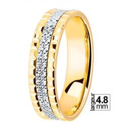 Alliance de mariage Or jaune et Or blanc 750