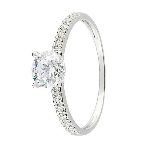 Plus adapté Bague solitaire Or blanc 750 - 11225088G - Boutique Alliance AR-37