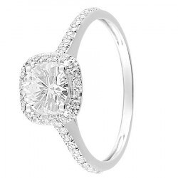 Bague solitaire Or blanc 375