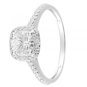 Alliances Hors Collection - Bague solitaire Or blanc 375