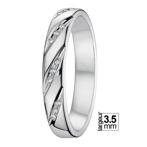 Alliance de mariage Or blanc 750 Diamant - 07777125G - Boutique Alliance