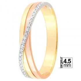 Alliance femme originale - Alliance de mariage 3 Ors...