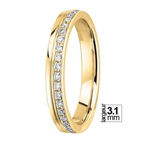 Alliance de mariage Or jaune 750 tour complet diamant - 04776115J - Boutique Alliance