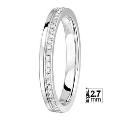Alliance De Mariage Or Blanc 750 Tour Complet Diamant