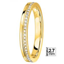 Confortable Alliance de mariage Or jaune 750 entourée de 56 diamants