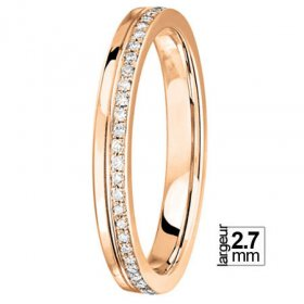Alliance femme Diamant - Alliance de mariage Or rose...