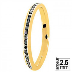 Alliance de mariage Or jaune 750 Diamants noirs