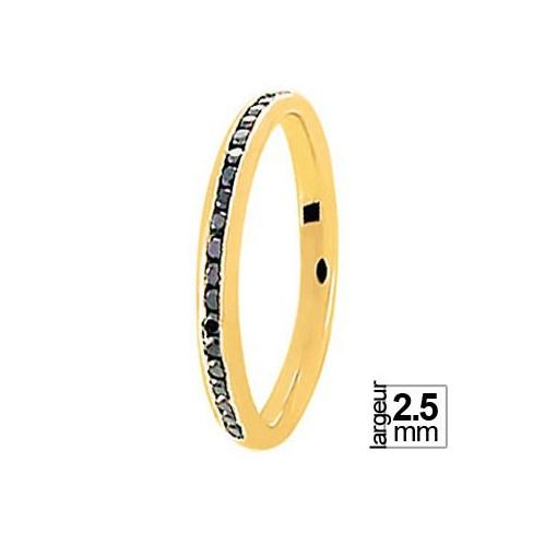 Alliance Diamants noir réalisée en Or jaune - Boutique Alliance