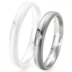 Alliance de mariage Breuning - Or gris 3.5mm + diamant - 1377417735G