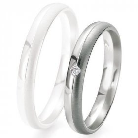 Alliance de mariage Breuning - Or gris 3.5mm + diamant - 1377417735G