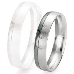 Alliance de mariage Breuning - Or gris 4.5mm + diamant - 1377417945G