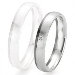 Alliance de mariage Breuning - Or gris 4.0mm + diamant - 1377418140G