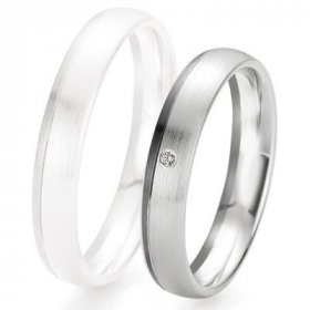 Alliance de mariage Breuning - Or gris 4.0mm + diamant - 1377418140