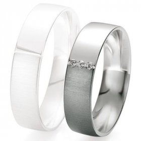 Alliance de mariage Breuning - Or gris 5.5mm + diamant - 1377418355G