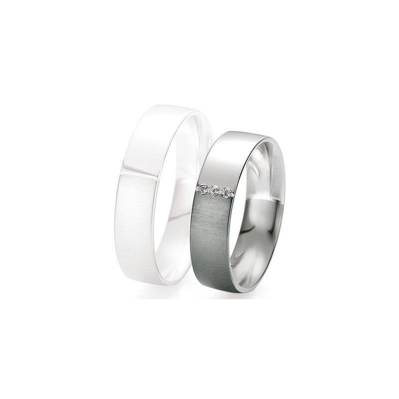 Alliance de mariage Breuning - Or gris 5.5mm + diamant - 1377418355G