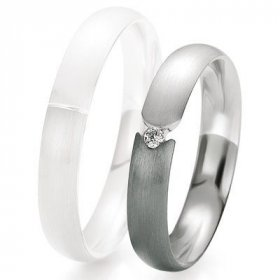 Alliance de mariage Breuning - Or gris 4.0mm + diamant - 1377418540G