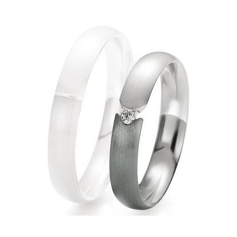 Alliance de mariage Breuning - Or gris 4.0mm + diamant - 1377418540G