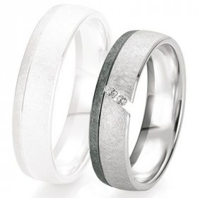 Alliances Breuning - Alliance de mariage Breuning - Or gris 5.5mm + diamant - 1377418755G