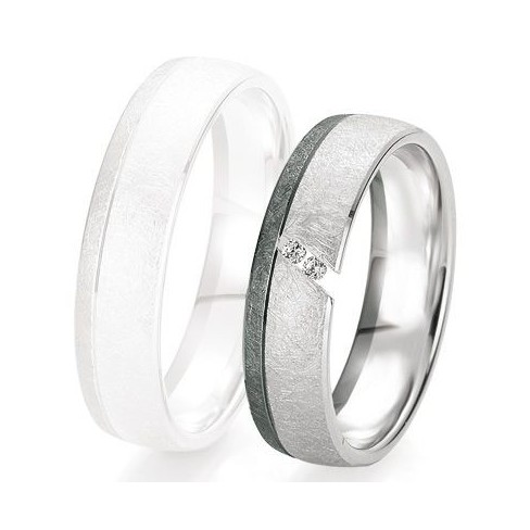 Alliance de mariage Breuning - Or gris 5.5mm + diamant - 1377418755G
