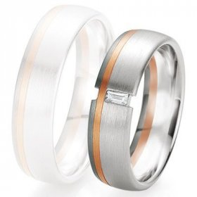 Alliance de mariage Breuning - 2 ors OG/OR 6.0mm + diamant - 1377418960B