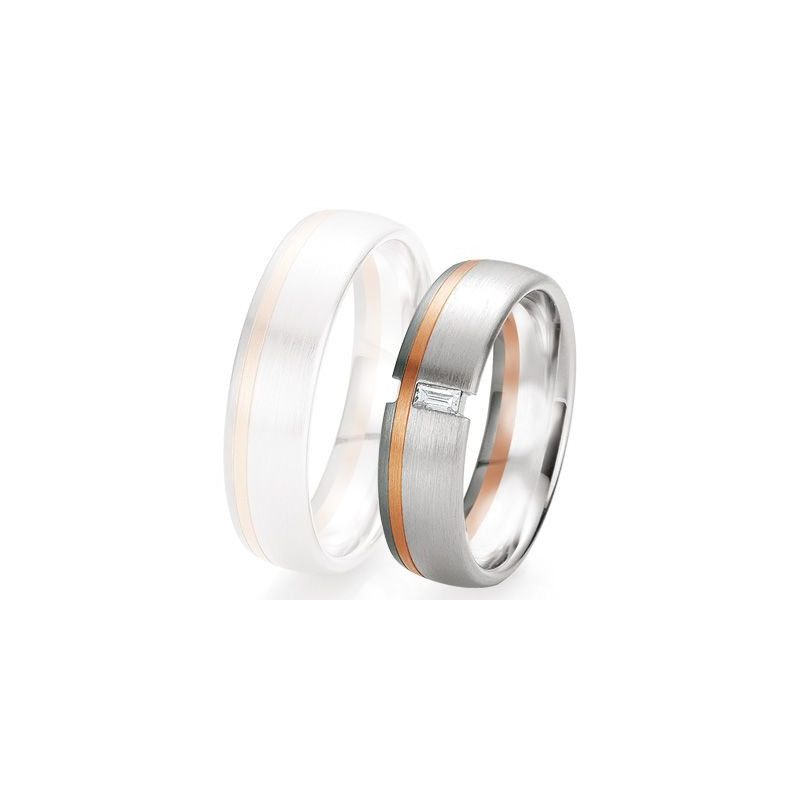 Alliance de mariage Breuning - 2 ors OG/OR 6.0mm + diamant - 1377418960B