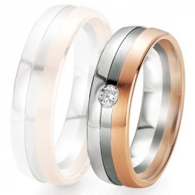 Alliance de mariage Breuning - 2 ors OG/OR 6.0mm + diamant - 1377419160B