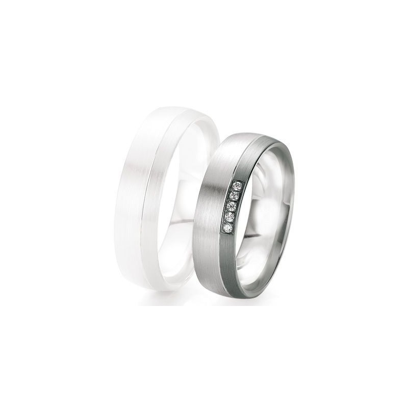 Alliance de mariage Breuning - Or gris 6.0mm + diamant - 1377419360G