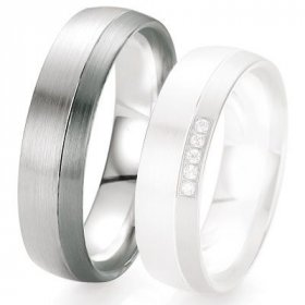 Black & white - Alliance de mariage Breuning - Or gris 6.0 mm - 1303419460G