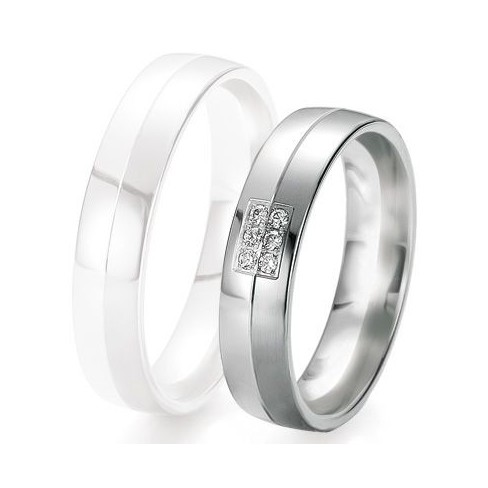 Alliance de mariage Breuning - Or gris 5.0mm + diamant - 1377419550G