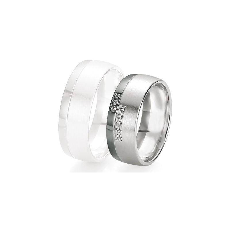 Alliance de mariage Breuning - Or gris 8.0mm + diamant - 1377419980G