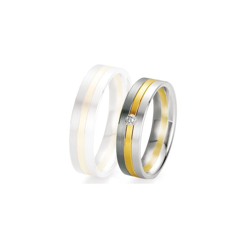 Alliance de mariage Breuning - 2 ors OG/OJ 5.5mm + diamant- 1377420155B