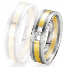 Alliance de mariage Breuning - 2 ors OG/OJ 6.0mm + diamant - 1377420360B