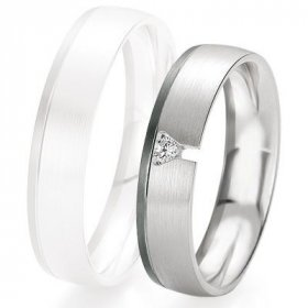 Alliance de mariage Breuning - Or gris 5.0mm + diamant - 1377420550G