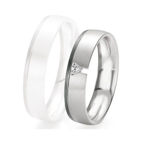 Alliance de mariage Breuning - Or gris 5.0mm + diamant - 1377420550G