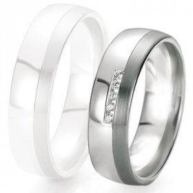Alliance de mariage Breuning -  Or gris 6.0mm + diamant1377420960G