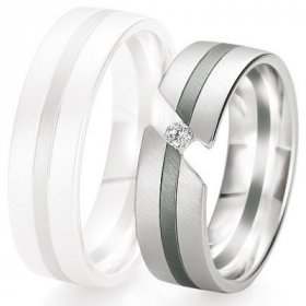 Alliance de mariage Breuning - Or gris 6.5mm + diamant - 1377421165G