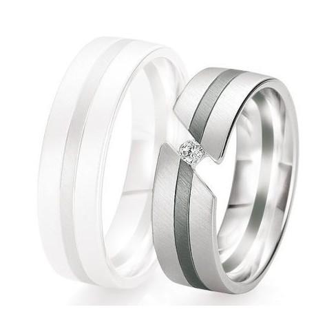 Alliance de mariage Breuning - Or gris 6.5mm + diamant - 1377421165G