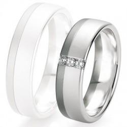 Alliance de mariage Breuning - Or gris 6.0mm + diamant - 1377421360G