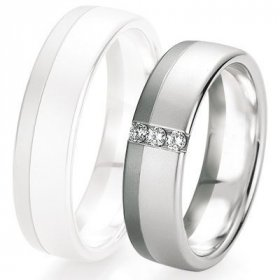 Black & white - Alliance de mariage Breuning - Or gris 6.0mm + diamant - 1377421360G