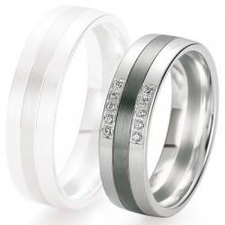 Alliance de mariage Breuning - Or gris 6.0mm + diamant - 1377421560G