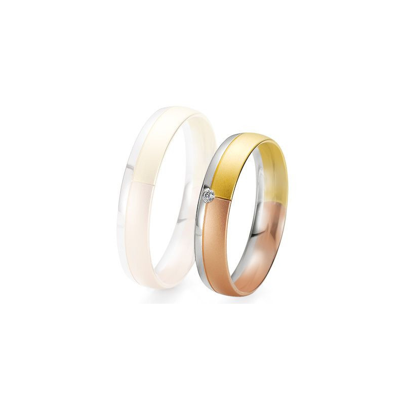 Alliance de mariage Breuning - 3 ors 4.5mm + diamant - 1377421745T