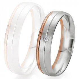 Alliance de mariage Breuning - 2 ors OG/OR 5.0mm + diamant - 1377421950B