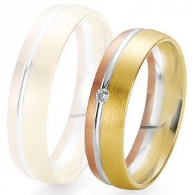 Alliance de mariage Breuning - 3 ors 5.5mm + diamant - 1377422155T
