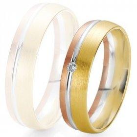 Les motifs lignes - Alliance de mariage Breuning - 3 ors 5.5mm + diamant - 1377422155T