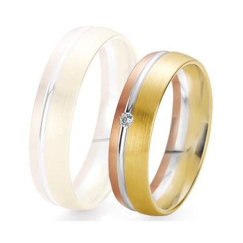 Alliance de mariage Breuning - 3 ors 5.5mm + diamant - 1377422155T