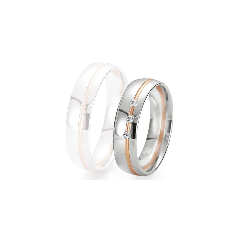 Alliance de mariage Breuning - 2 ors OG/OR 5.5mm + diamant - 1377422355B