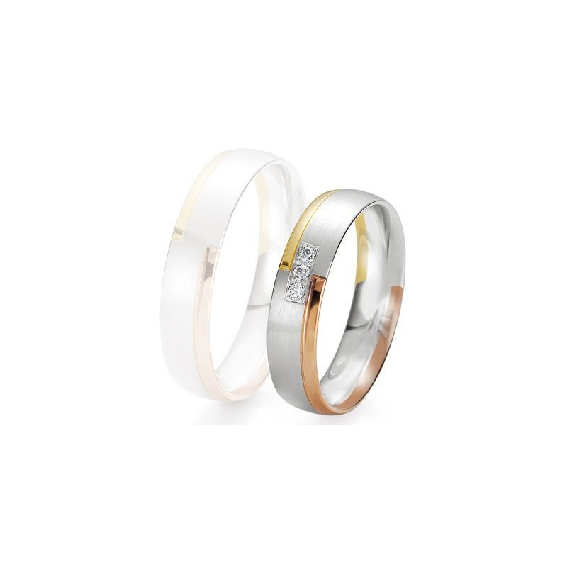 Alliance de mariage Breuning - 3 ors 5.0mm + diamant - 1377422550T
