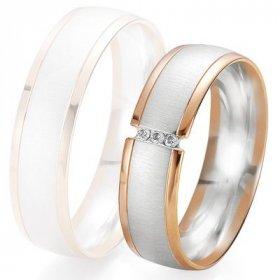 Alliances Breuning - Alliance de mariage Breuning - 2 ors OG/OR 6.0mm + diamant - 1377422760B