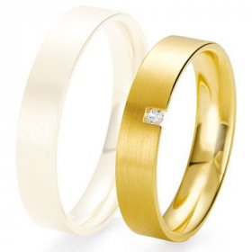 Alliance de mariage Breuning - Or jaune 4.5mm + diamant1377422945J